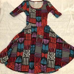 NWT LuLaRoe XS Nicole Dress Multicolor Abstract